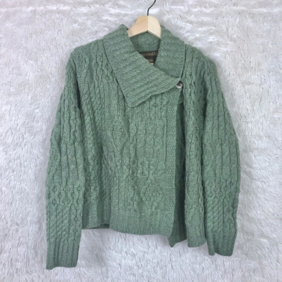 a58c8094161023 Inis Crafts Sweaters - Inis Crafts | Green Merino Wool Chunky Sweater S